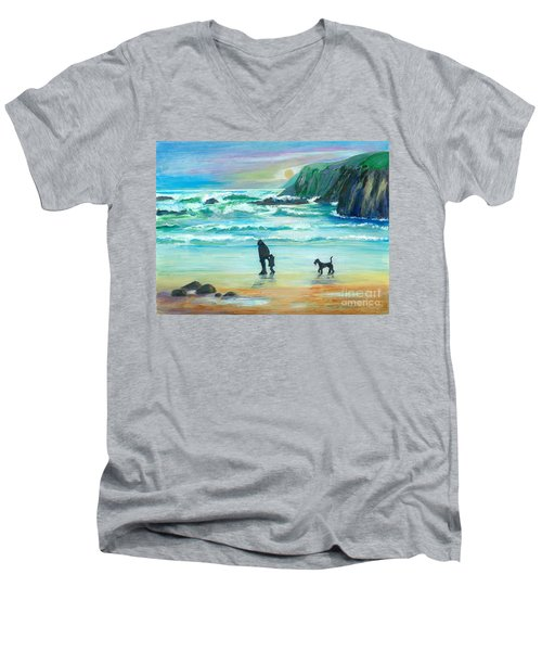 Walking With Grandpa - Painting Men's V-Neck T-Shirt