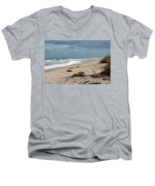 Walks On The Beach Men's V-Neck T-Shirt by Megan Dirsa-DuBois