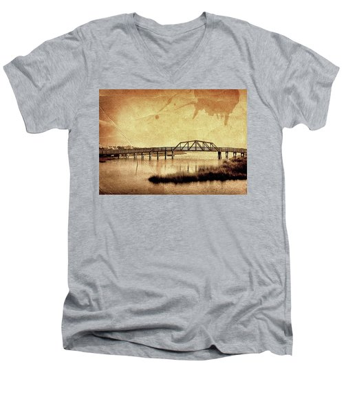 Walkway Over The Sound, Topsail Beach, North Carolina Men's V-Neck T-Shirt by John Pagliuca