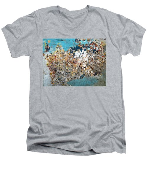 Wall Abstract 106 Men's V-Neck T-Shirt by Maria Huntley