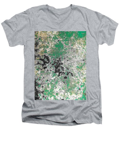 Wall Abstract 160 Men's V-Neck T-Shirt by Maria Huntley