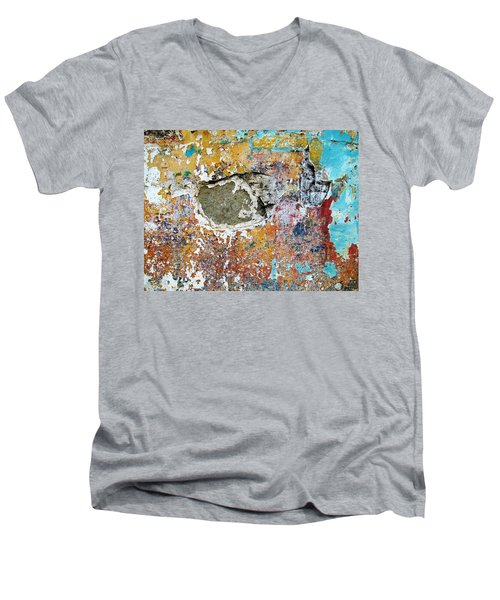 Wall Abstract 196 Men's V-Neck T-Shirt by Maria Huntley