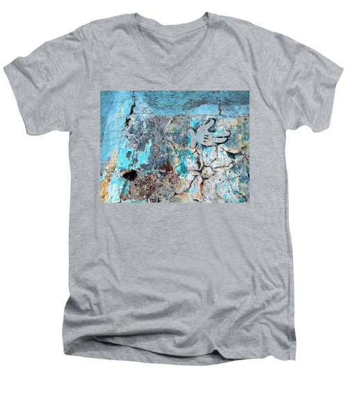 Wall Abstract 211 Men's V-Neck T-Shirt by Maria Huntley