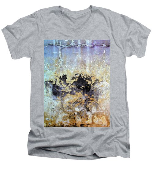 Wall Abstract 68 Men's V-Neck T-Shirt by Maria Huntley