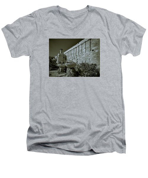 Wall Of Cave Of The Patriarchs Men's V-Neck T-Shirt