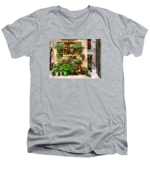 Wall Of Flowers Men's V-Neck T-Shirt by Uri Baruch