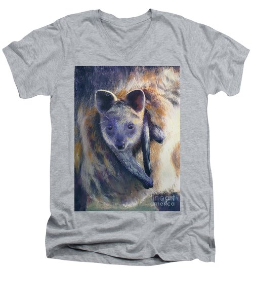 Men's V-Neck T-Shirt featuring the painting Wallaby Joey by Ryn Shell