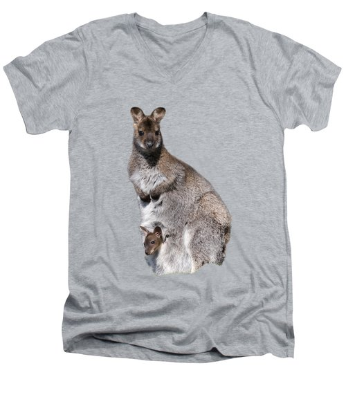 Wallaby Men's V-Neck T-Shirt by Scott Carruthers