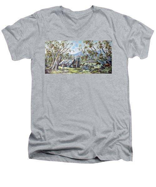 Wallace Hut, Australia's Alpine National Park. Men's V-Neck T-Shirt
