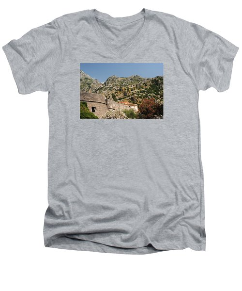Men's V-Neck T-Shirt featuring the photograph Walls Of Kotor by Robert Moss