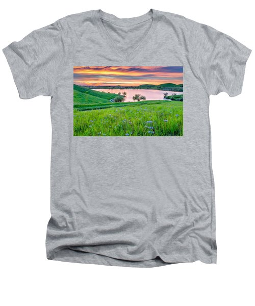Men's V-Neck T-Shirt featuring the photograph Wally Baskets Above Contra Loma  by Marc Crumpler