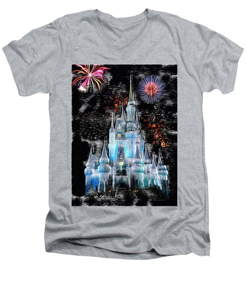 Walt Disney World Frosty Holiday Castle Mp Men's V-Neck T-Shirt by Thomas Woolworth