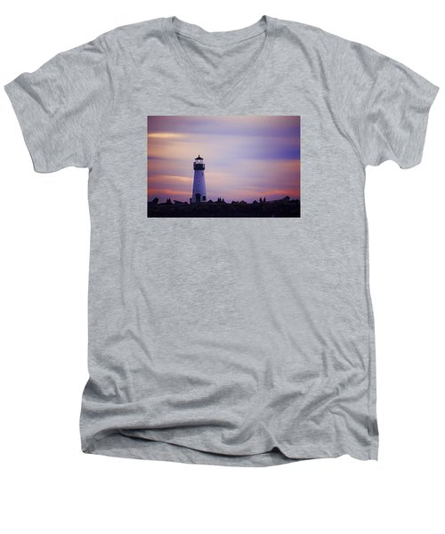 Men's V-Neck T-Shirt featuring the photograph Walton Lighthouse by Lora Lee Chapman