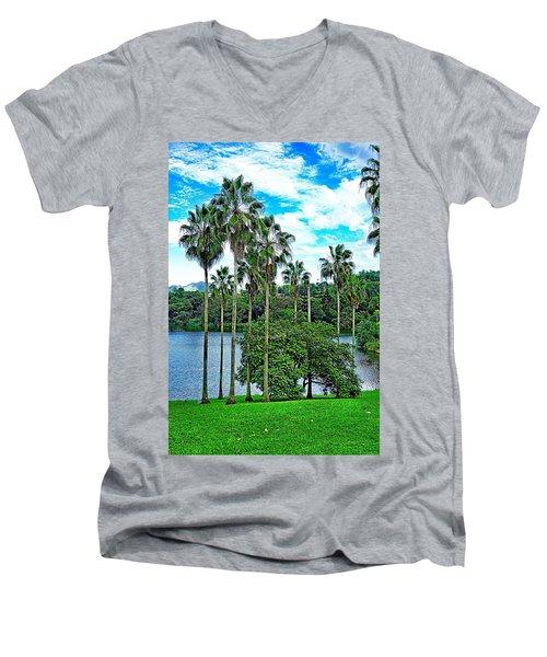 Waokele Pond Palms And Sky Men's V-Neck T-Shirt