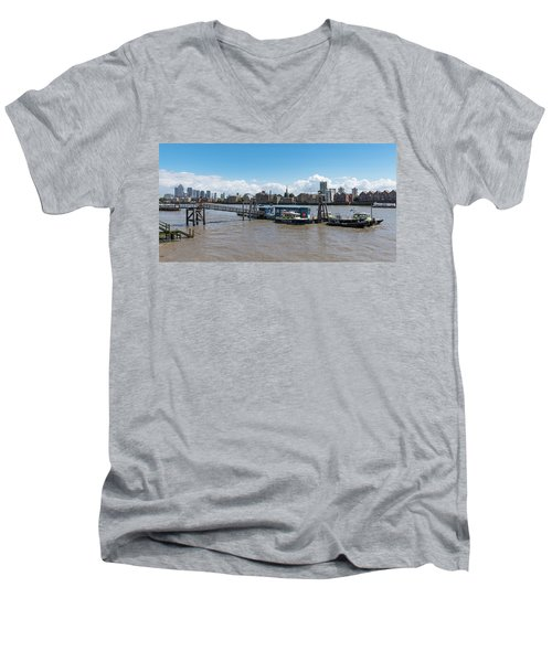 Men's V-Neck T-Shirt featuring the photograph Wapping River Police Waterloo Pier by Gary Eason