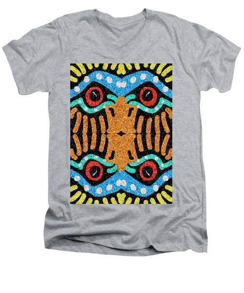 War Eagle Totem Mosaic Men's V-Neck T-Shirt