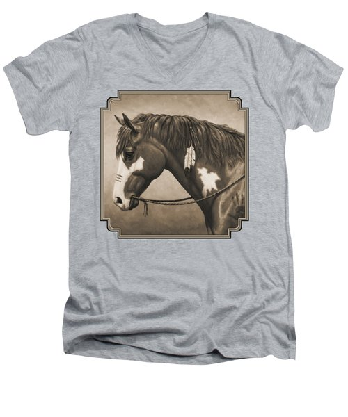 War Horse Aged Photo Fx Men's V-Neck T-Shirt