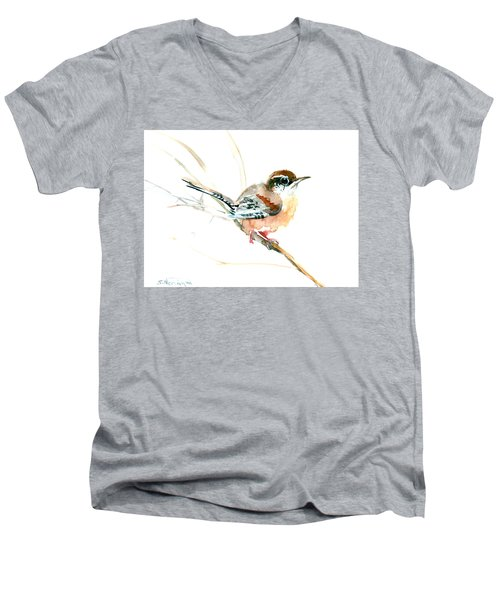 Warbler Songbird Art  Men's V-Neck T-Shirt by Suren Nersisyan