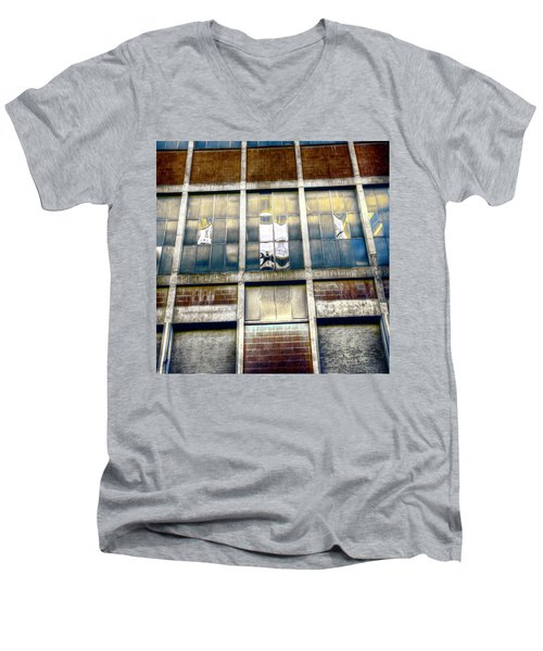Men's V-Neck T-Shirt featuring the photograph Warehouse Wall by Wayne Sherriff