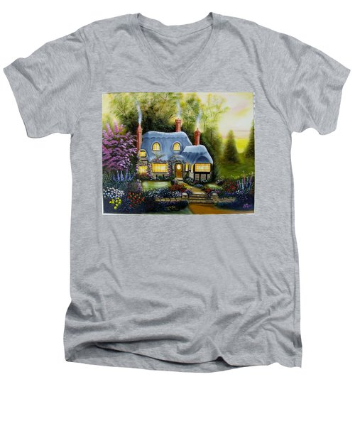 Warm And Cozy Cottage Men's V-Neck T-Shirt