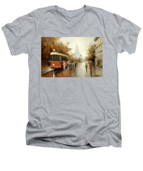 Warm Moscow Autumn Of 1953 Men's V-Neck T-Shirt by Igor Medvedev