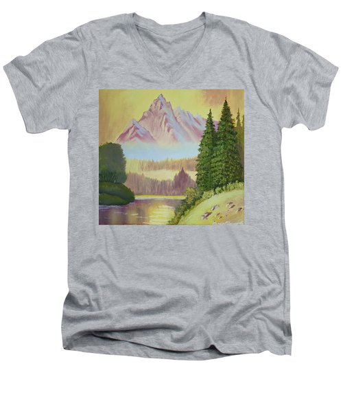 Warm Mountain Men's V-Neck T-Shirt