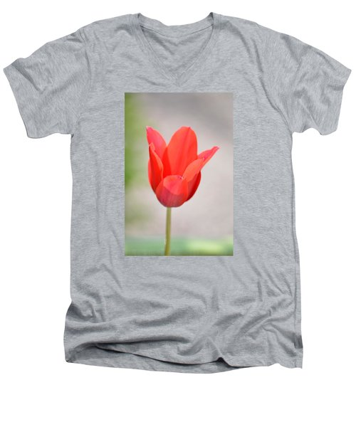 Warm Pink Tulip Men's V-Neck T-Shirt by William Bartholomew