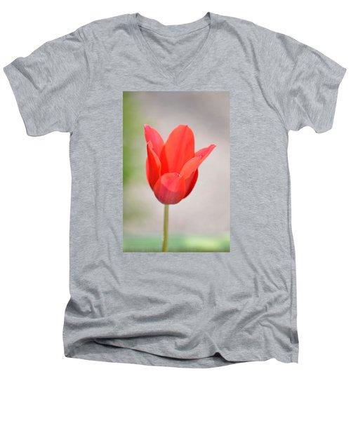 Warm Pink Tulip Men's V-Neck T-Shirt