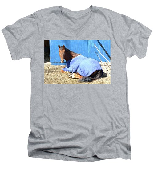 Warm Winter Day At The Horse Barn Men's V-Neck T-Shirt
