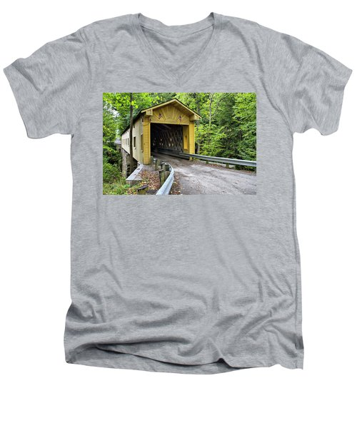 Warner Hollow Covered Bridge Men's V-Neck T-Shirt