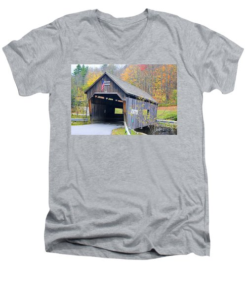 Warren Covered Bridge In Vermont Men's V-Neck T-Shirt