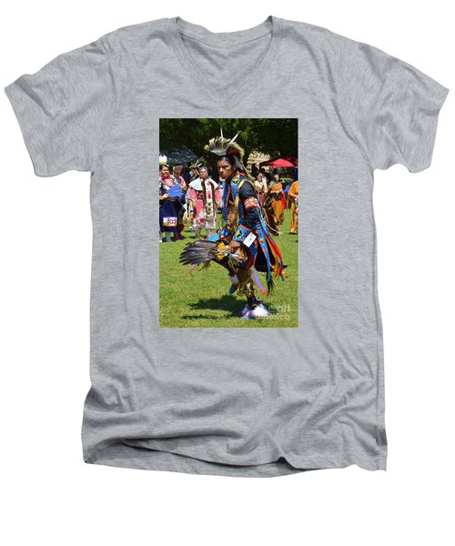 Men's V-Neck T-Shirt featuring the photograph Warriors Dance by Lew Davis