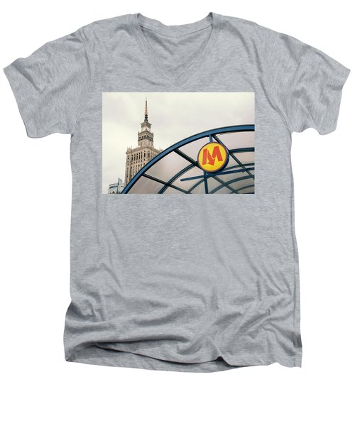 Men's V-Neck T-Shirt featuring the photograph Warsaw by Chevy Fleet