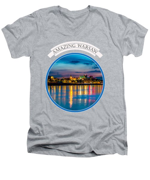 Warsaw Souvenir T-shirt Design 1 Blue Men's V-Neck T-Shirt