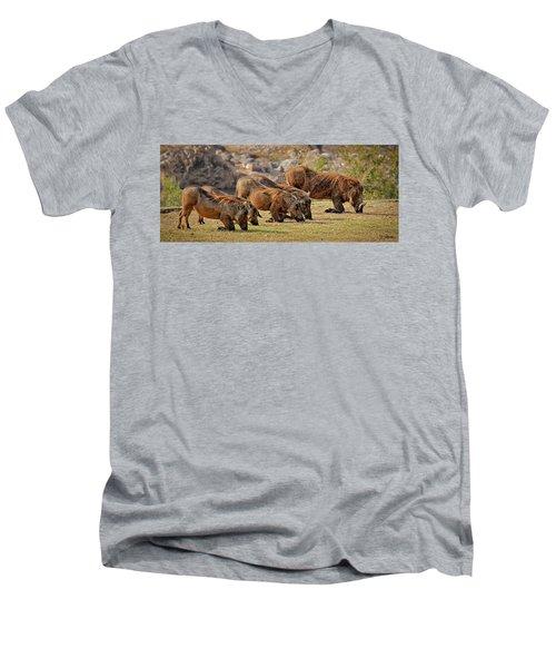 Warthogs Doing Lunch Men's V-Neck T-Shirt by Joe Bonita
