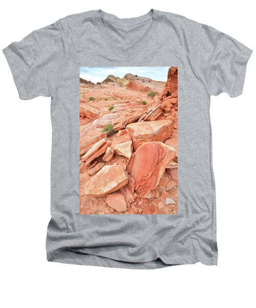 Men's V-Neck T-Shirt featuring the photograph Wash 4 Color In Valley Of Fire by Ray Mathis