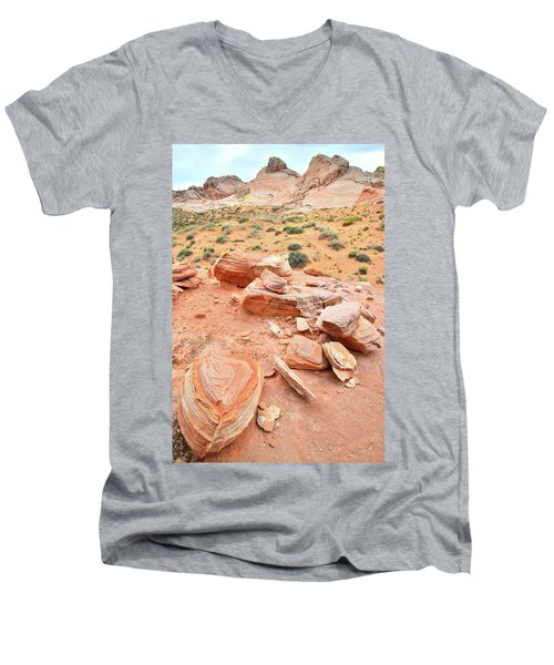 Men's V-Neck T-Shirt featuring the photograph Wash 4 In Valley Of Fire by Ray Mathis
