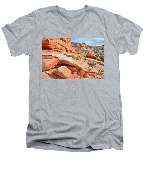 Wash 5 In Valley Of Fire Men's V-Neck T-Shirt by Ray Mathis