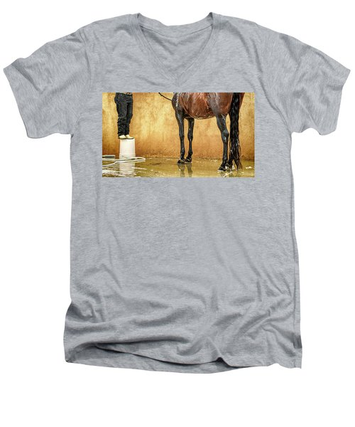 Washing A Horse Men's V-Neck T-Shirt