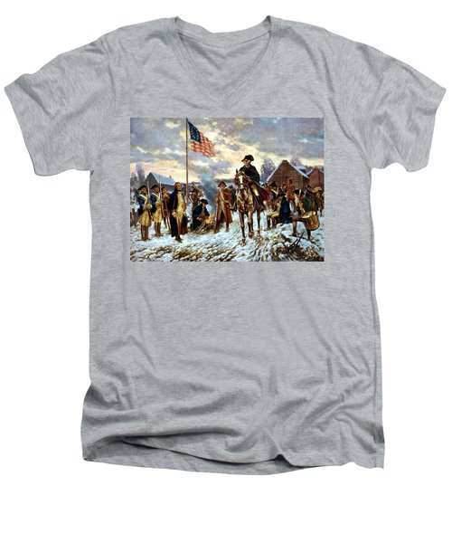 Washington At Valley Forge Men's V-Neck T-Shirt