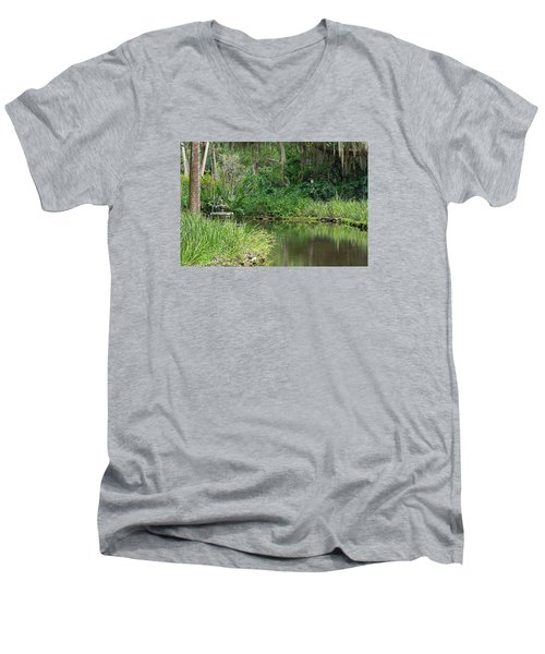 Washington Oaks Pond Men's V-Neck T-Shirt by Kenneth Albin