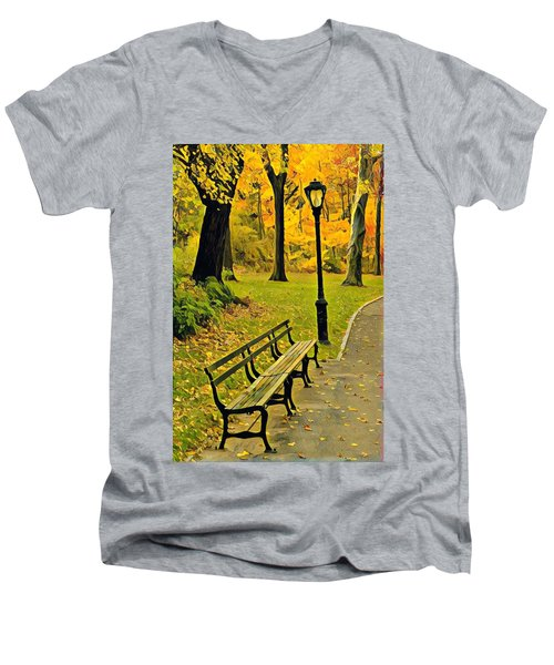 Washington Square Bench Men's V-Neck T-Shirt