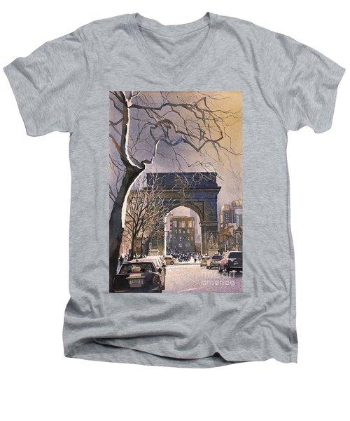 Washington Square- Nyc Men's V-Neck T-Shirt by Ryan Fox