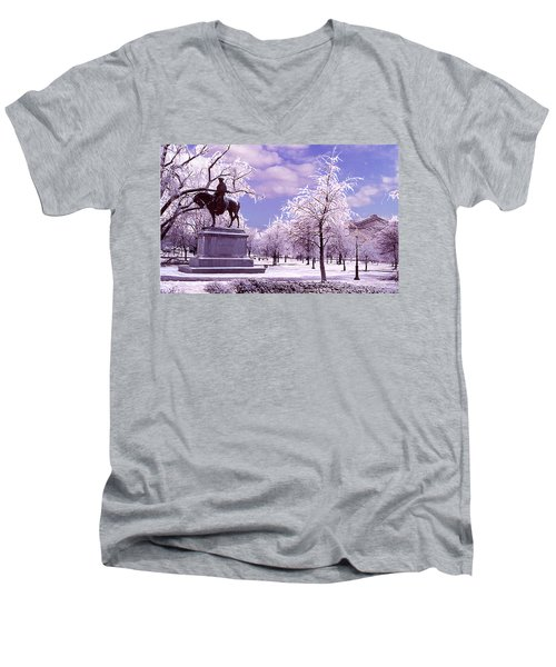 Men's V-Neck T-Shirt featuring the photograph Washington Square Park by Steve Karol