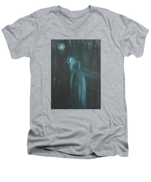 Men's V-Neck T-Shirt featuring the painting Wasted Time by Min Zou