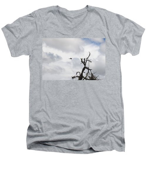 Men's V-Neck T-Shirt featuring the photograph Watch Out For That Tree by Marie Neder