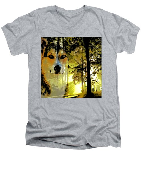 Men's V-Neck T-Shirt featuring the digital art Watcher Of The Woods by Kathy Kelly