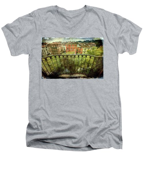 Watching From The Balcony Men's V-Neck T-Shirt by Vittorio Chiampan