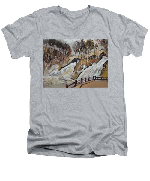 Watching The Cascades De Coo Men's V-Neck T-Shirt
