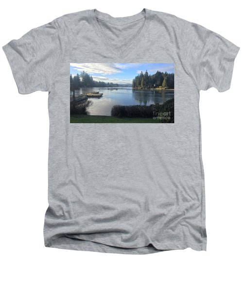 Men's V-Neck T-Shirt featuring the photograph Watching The Ice Melt by Victor K